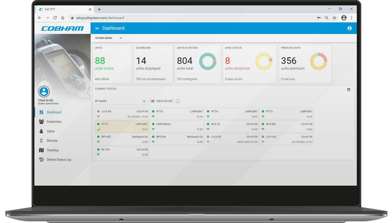 Cobham SATCOM`s interface and reporting dashboard