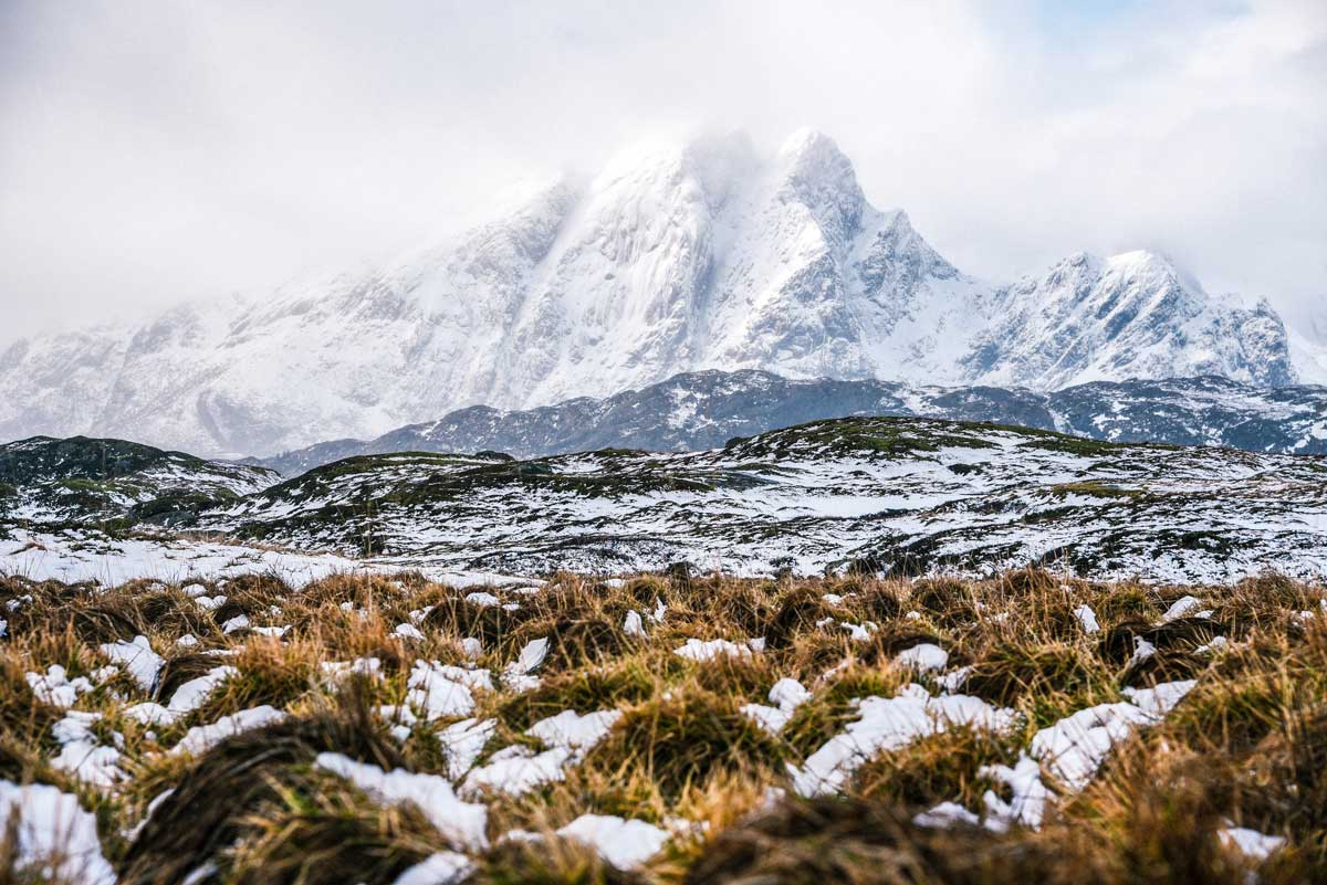 Majestic mountains in the winter